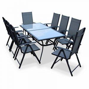 Alice's Garden - Salon de jardin en aluminium et textilène - Naevia - Gris, Anthracite - 8 places - 1 grande table rectangulaire, 8 fauteuils pliables de la marque image 0 produit