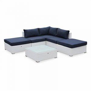 Alice's Garden - Salon de jardin en résine tressée - Milano - Blanc , Coussins bleu marine - 7 places - 2 méridiennes, 2 poufs, 1 fauteuil d'angle, une table basse de la marque image 0 produit