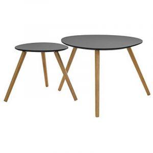 ATMOSPHERA - Tables Basses Gigognes - Set de 2 - Noir - PM: H40x40x40cm / GM: H48x60x60cm de la marque image 0 produit