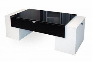 Berlioz Creations Lucky Table Basse Noir Brillant/Blanc 123 x 55 x 42 cm de la marque image 0 produit