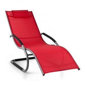 Blumfeldt Sunwave - Chaise longue de jardin avec accoudoirs, transat avec cadre en aluminium et effet bascule - supporte jusqu'à 180kg - rouge de la marque image 0 produit
