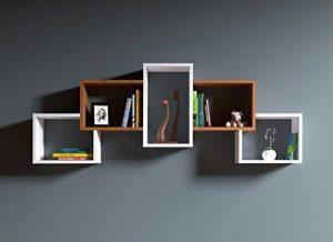 BOLD Étagère murale - étagère à livres pour décoration de salon en bois dans un design moderne … (Blanc / Noyer) de la marque image 0 produit