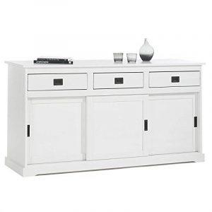Buffet SAVONA commode bahut vaisselier 3 portes coulissantes et 3 tiroirs pin massif lasuré blanc de la marque image 0 produit