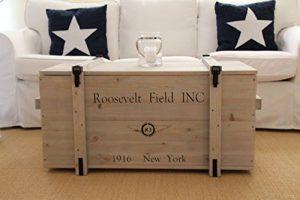 Caisse en bois Style Shabby chic Fret Boîte vintage Coffre caisse de transport Table basse Gris de la marque Uncle Joe's image 0 produit
