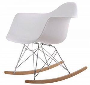 Chaise A Bascule Rétro Lounge Loisir Inspiration Eames - Blanc de la marque image 0 produit