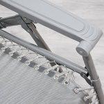 Chaise longue berçante de AMANKA Transat à bascule de jardin Rocking chair pliable et inclinable avec repose-pieds et dossier réglable en acier env 178x70cm poids supporté max 120 kg Gris de la marque AMANKA image 6 produit