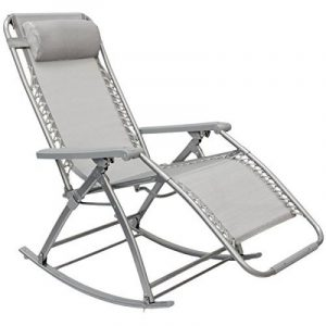 Chaise longue berçante de AMANKA Transat à bascule de jardin Rocking chair pliable et inclinable avec repose-pieds et dossier réglable en acier env 178x70cm poids supporté max 120 kg Gris de la marque AMANKA image 0 produit