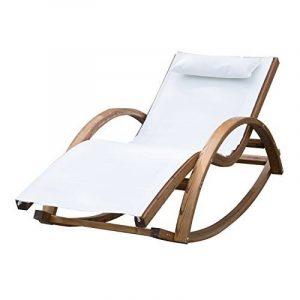 Chaise longue fauteuil berçante à bascule transat bain de soleil rocking-chair en bois charge 100kg blanc 15cw de la marque image 0 produit