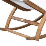Chaise longue fauteuil berçante à bascule transat bain de soleil rocking-chair en bois charge 100kg blanc 15cw de la marque image 5 produit
