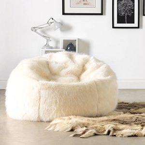 Chaise Pouf de luxe grande taille en Fausse Fourrure douce de ICON - Pouf luxueux énorme pour adulte en Fourrure - XL Pouf Poire Adulte (Créme) de la marque image 0 produit