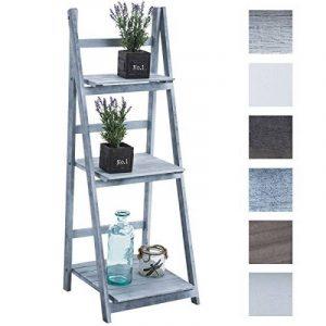 CLP Étagère escalier pliable YANA en bois, 3 grands espaces de rangement, usage possible dans plusieurs coins de la maison gris de la marque image 0 produit