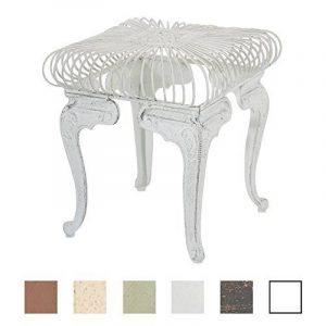 CLP Table de jardin carrée faite à la main MELLE, Mobilier de jardin fer forgé antique, 35 x 35 cm, diamètre Ø 70 cm blanc antique de la marque image 0 produit