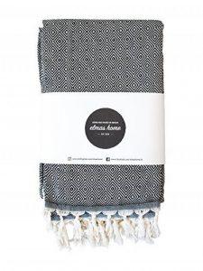 Couvre Lit + Serviette de Plage + Plaid Canapé + Picnic Blanket + Plaid Voiture - 100% Coton - Versatile - Style Vintage - 240 x 200 cm XXL - Couleur Noir Avec - CLASSI DIAMOND par Elmas Home de la marque Elmas Home image 0 produit
