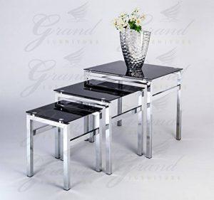 Elsa et moderne en verre Tables gigognes Noir 3Lampe côté Table basse Ensemble de meuble de salon de la marque ROYALE COMFORT image 0 produit