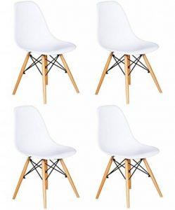 Ensemble de 4 chaises avec assise en résine, couleur blanche, 82 x 46 x 53.5 cm de la marque image 0 produit