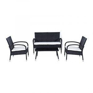 Ensemble salon de jardin 4 places : canapé, 2 fauteuils et table basse plateau verre trempé résine tressée 4 fils imitation rotin noir coussins blanc neuf 05 de la marque image 0 produit