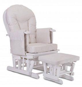 Fauteuil Bascule Bois Rocking Chair Beige Allaitement Bébé Avec Mécanisme Verrou & Repose Pied Assorti Planeur chaise de la marque image 0 produit