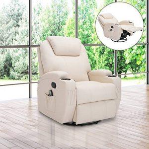 Fauteuil canapé sofa relaxation massant chauffant et vibrant inclinable pivotant à 360° similicuir 92L x 84l x 109Hcm beige 36 de la marque image 0 produit