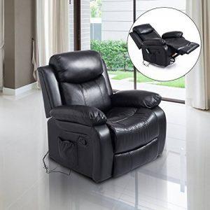 Fauteuil de massage et relaxation électrique chauffant inclinable pivotant repose-pied télécommande noir neuf 55 de la marque image 0 produit