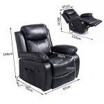Fauteuil de massage et relaxation électrique chauffant inclinable pivotant repose-pied télécommande noir neuf 55 de la marque image 4 produit