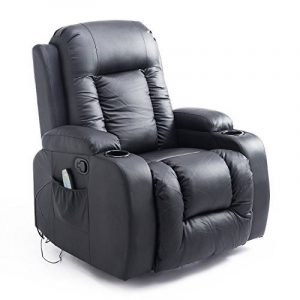 Fauteuil de massage et relaxation électrique chauffant inclinable repose-pied télécommande noir neuf 50BK de la marque image 0 produit