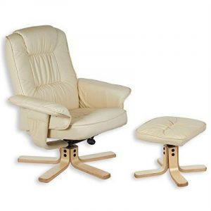 Fauteuil relaxation repose-pieds CHARLY cuir synthétique beige de la marque image 0 produit