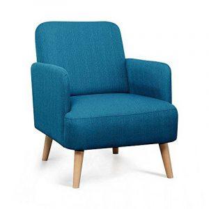 Fauteuil rétro design tissu et pieds bois clair Brooks - Couleur - Bleu de la marque image 0 produit