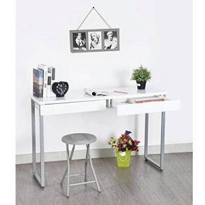 FurnitureR Console multifonction Meuble de Bureau Informatique avec 2 Tiroirs Bureau de Travail Ordinateur PC Laptop Notebook Blanc en Bois de la marque image 0 produit