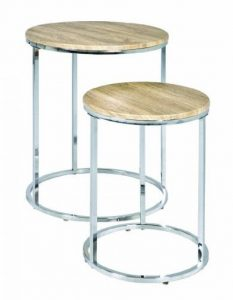 Haku Möbel 33084 Lot de 2 Tables Gigognes Chromé/Chêne Clair 50 cm de la marque image 0 produit