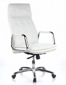 hjh OFFICE 600922 chaise de bureau, fauteuil de bureau VILLA 20 ivoire en cuir, siège avec accoudoirs haut de gamme, rembourrage épais au motif piqué, dossier haut inclinable, pied en alu, garantie 4 ans de la marque image 0 produit