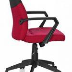 hjh OFFICE 723011 chaise de bureau, siège pivotant ROYAL gris/rouge moucheté, avec accoudoirs, dossier moyen au design bicolore, design moderne, assise réglable en hauteur, mécanisme de basculement de la marque image 3 produit