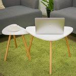 HOMFA Lot de 2 Table Basse de Café à Trois Pieds en Bambou et MDF Tables Basses Gigognes Blanc (Type-2) de la marque image 5 produit