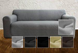 Housse de canapé Ambivelle, housse stretch biélastique, revêtement de canapé, pour de nombreux canapés 2 places courants, gris de la marque image 0 produit