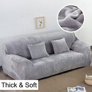 Housse de canapé épaisse en velours stretch uni pour canapé 1, 2, 3 ou 4 places, gris clair, 3 Seater:195-230cm de la marque tifee image 0 produit