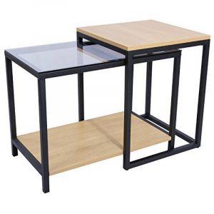 Lifewit Ensemble de Table d'Appoint Moderne à 2 Pièces avec Rangement Combiné, Table Basse, Bout de Canapé en Verre et Bois de la marque image 0 produit