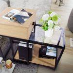Lifewit Table d'Appoint Moderne à 2 Pièces avec Tiroir Rangement Combiné Table Basse Bout de Canapé en Verre Bois de la marque image 3 produit