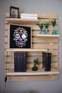 LIZA LINE Étagère Murale Décorative en Bois, Bibliothèque composée de 4 Tablettes Flottantes. Pin Nordique Massif - 101x80x21cm (Pin Naturel) de la marque image 0 produit