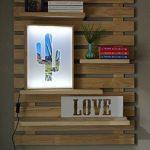 LIZA LINE Étagère Murale Décorative en Bois, Bibliothèque composée de 4 Tablettes Flottantes. Pin Nordique Massif - 101x80x21cm (Pin Naturel) de la marque image 2 produit