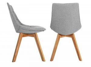 Lot de 2 chaises tendances en tissu gris chiné & piétement en bois de chêne massif – BETI de la marque image 0 produit