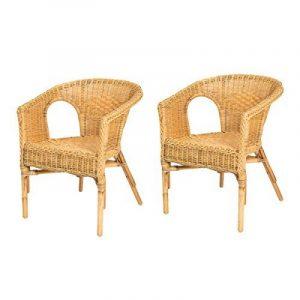 Lot de 2 fauteuils en rotin CHRIS miel - Rotin Design de la marque image 0 produit