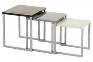 Lot de 3 tables basses gigognes - Utilisation intérieure et extérieure - Coloris GRIS NOIR de la marque image 0 produit