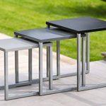 Lot de 3 tables basses gigognes - Utilisation intérieure et extérieure - Coloris GRIS NOIR de la marque image 5 produit