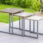 Lot de 3 tables basses gigognes - Utilisation intérieure et extérieure - Coloris TAUPE de la marque image 5 produit