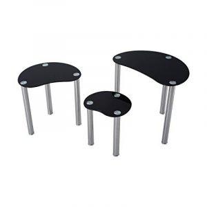 Lot de 3 tables gigognes design contemporain plateau verre trempé profilé noir pieds chromés neuf 85 de la marque image 0 produit