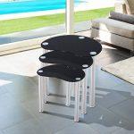 Lot de 3 tables gigognes design contemporain plateau verre trempé profilé noir pieds chromés neuf 85 de la marque image 6 produit