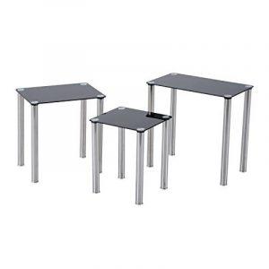 Lot de 3 tables gigognes design contemporain plateau verre trempé rectangulaire noir pieds chromés neuf 86BK de la marque image 0 produit