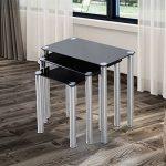Lot de 3 tables gigognes design contemporain plateau verre trempé rectangulaire noir pieds chromés neuf 86BK de la marque image 6 produit