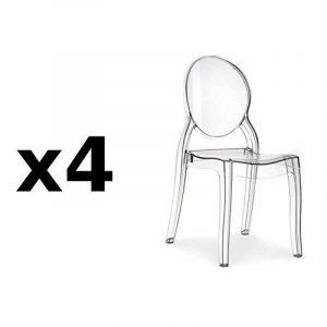 Lot de 4 chaises médaillon IMPÉRATRICE style Louis XVI en polycarbonate transparent de la marque image 0 produit
