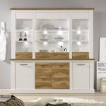 Maisonnerie 1491-921-61 Vitrine Commode Style Campagnard Toronto Blanc Pin Décor, Noyer Satin LxHxP 210x210x42 cm de la marque image 2 produit