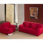 Nibesser Housse de Canapé 1 2 3 4 Places Couverture Extensible Pur Couleur Décor de la Salon (145-185cm, rouge) de la marque image 5 produit